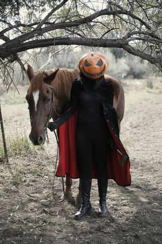 Papier Mache Pumpkins: a creepy headless horseman costume!