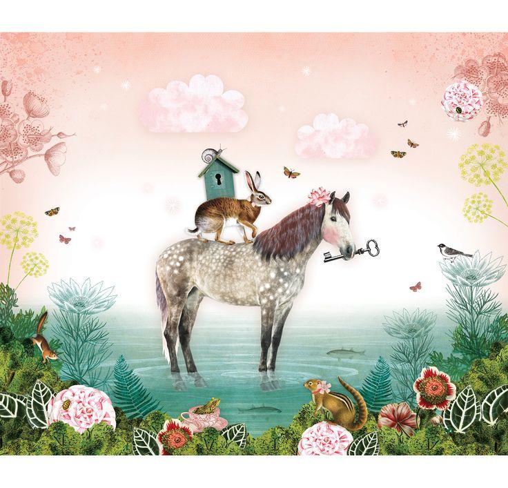 Mural horse, sooo beautiful | Pimpelmees via Kinderkamerstylist.nl