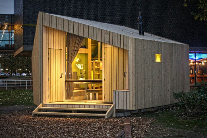 The Trek-In and Trek-In Junior are sustainable cabins made from FSC certified wood by MoodBuilders and Kristel Hermans Architectuur to provide affordable lodgings for campers in The Netherlands.