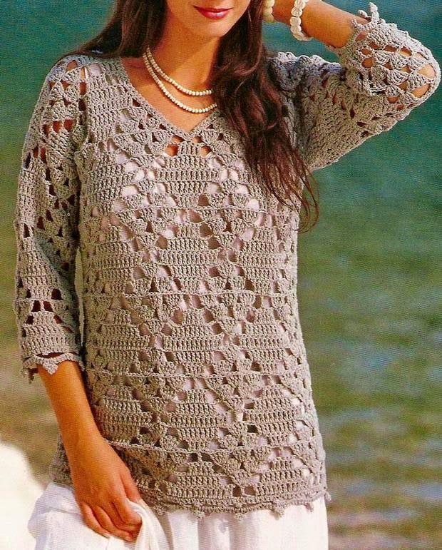 Camisola Crochet: Crochet Túnica Padrão - Beautiful simples túnica das mulheres