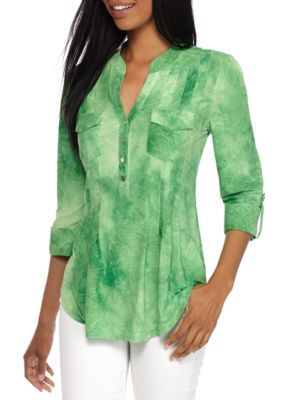 New Directions Women's Three-Quarter Sleeve Jacquard Henley Top -  - No Size