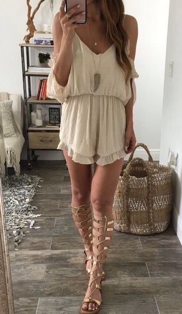 Beach club style- Flowy playsuits with gladiator sandals and you're all set  #SouthernBelleDXB #Inspo