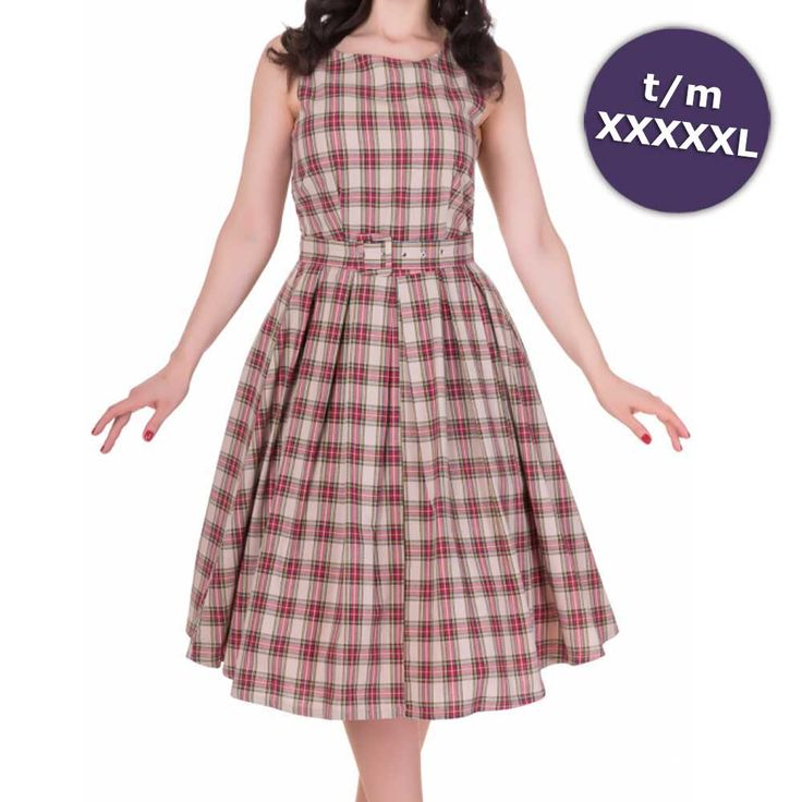 Annie swing jurk met schotse ruit tartan print beige - Vintage 50's Rockabilly retro