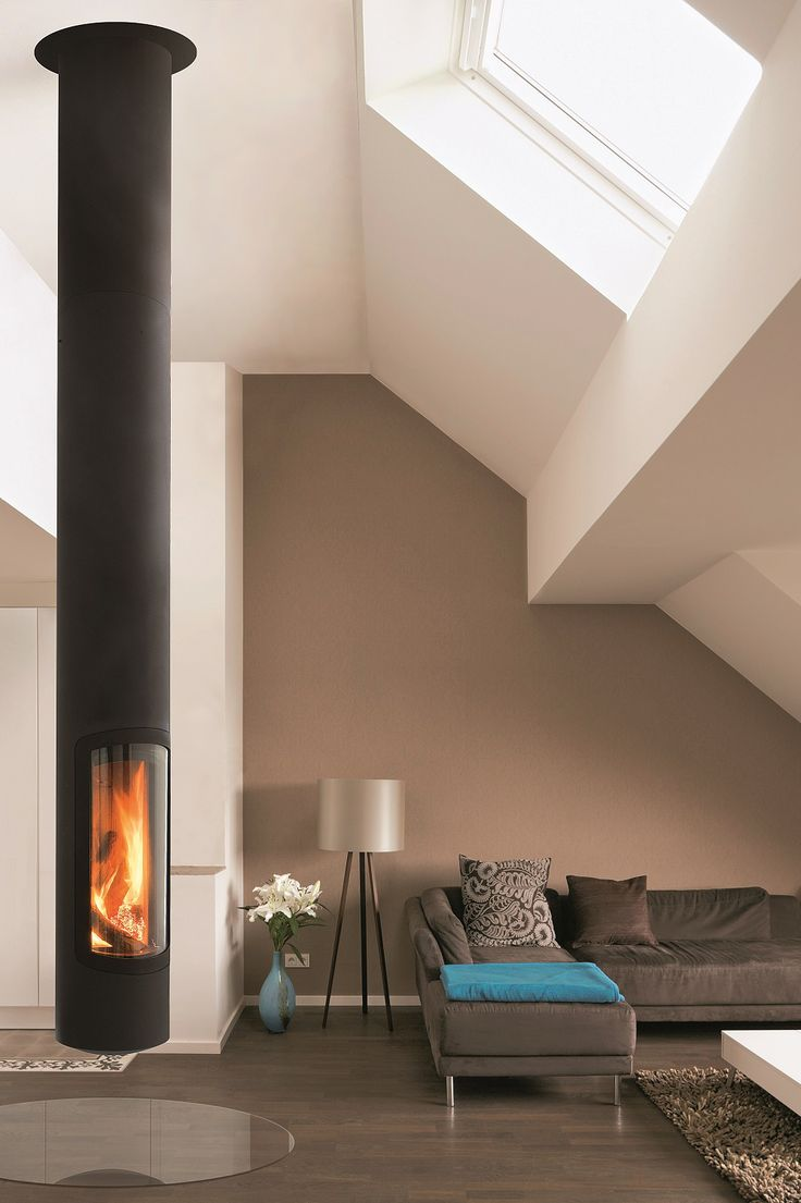 Wood-burning central hanging fireplace SLIMFOCUS by Focus