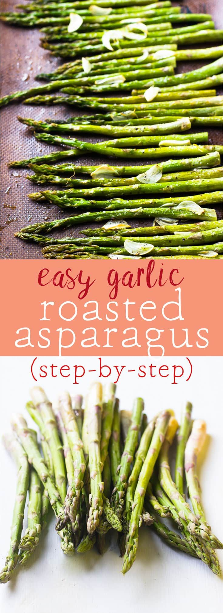 Garlic Roasted Asparagus is a must-make staple dish in my house. They are crunchy and flavourful. Here's a step-by-step how to guide for roasting asparagus. via http://jessicainthekitchen.com