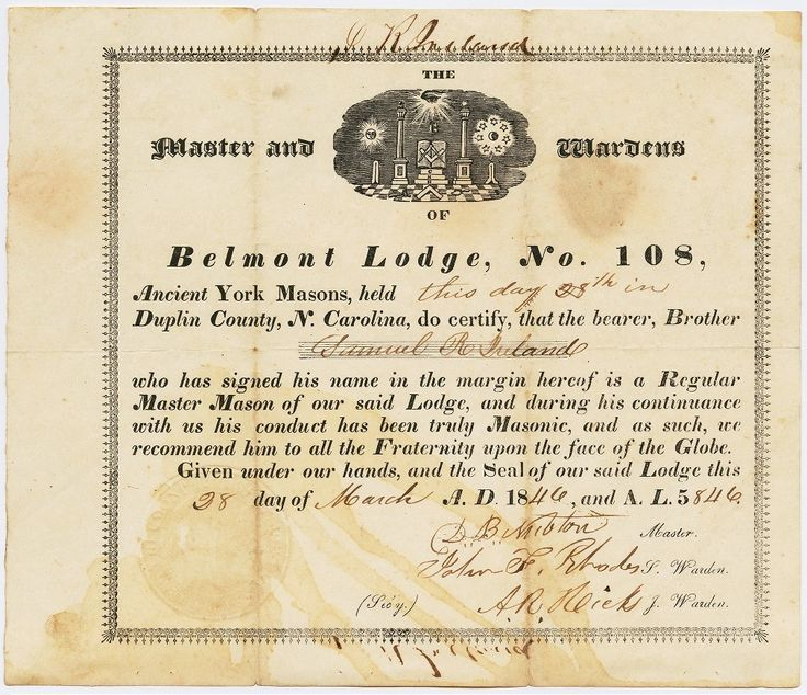 Certificate stating that Samuel R. Ireland became a Regular Master Mason on Marc…