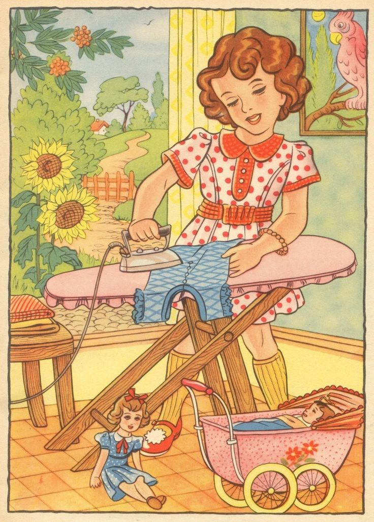Vintage graphic of Little Girl ironing like Mommie