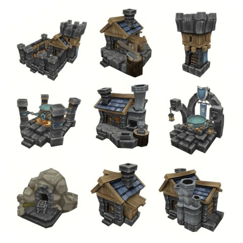 Low Poly Human RTS Buildings