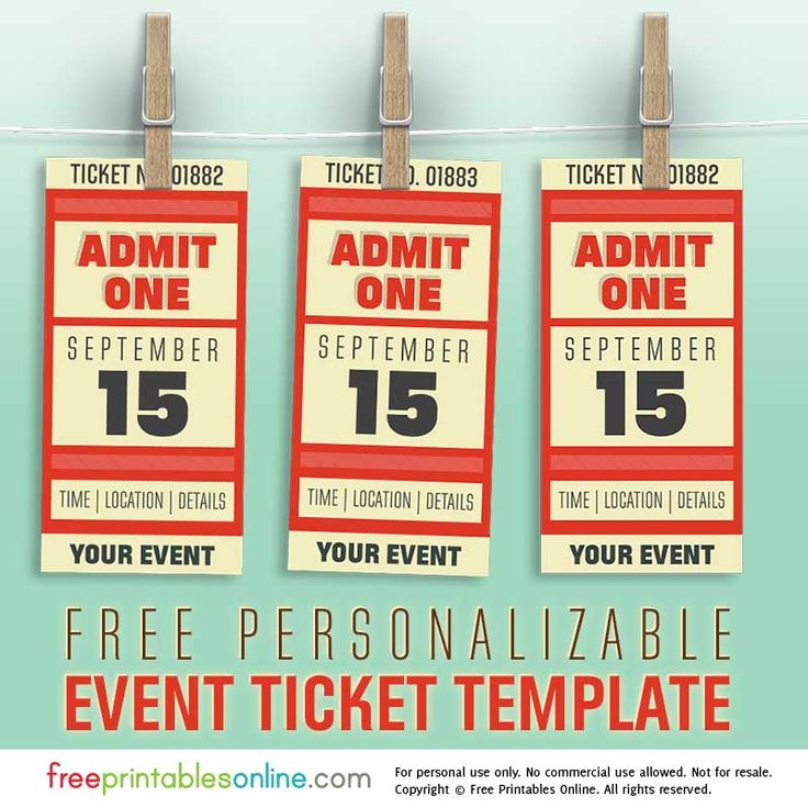 Concert Tickets Template. Free Personalized Event Ticket Template