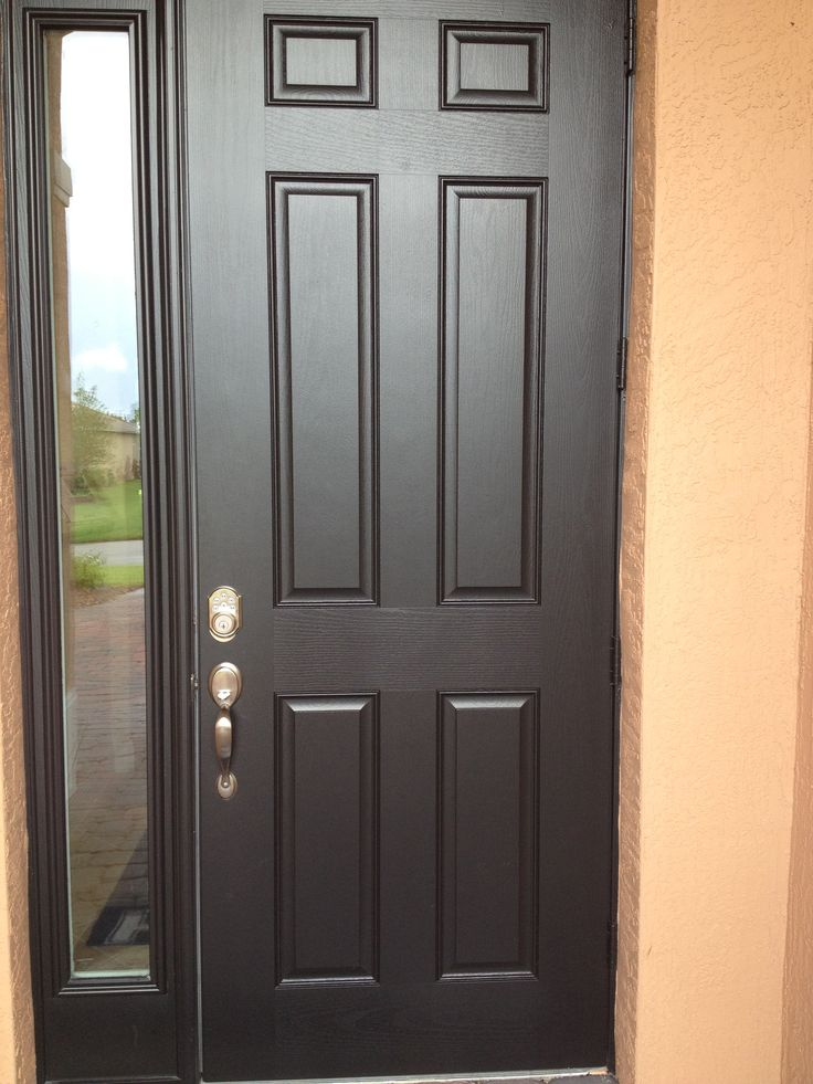 6 Panel Fiber Glass Front Door With Chord Full Lite Side Lite Painted Black Glass Front Door