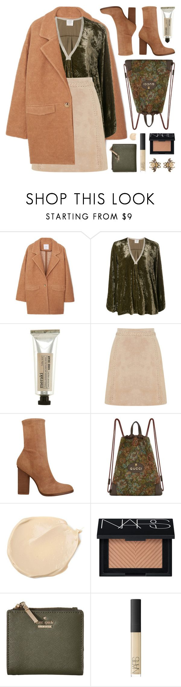 """""""suede mini skirt"""" by jesuisunlapin ❤ liked on Polyvore featuring MANGO, Forte Forte, Meraki, Oasis, Alexander Wang, Gucci, NARS Cosmetics, Kate Spade, suede and velvet"""