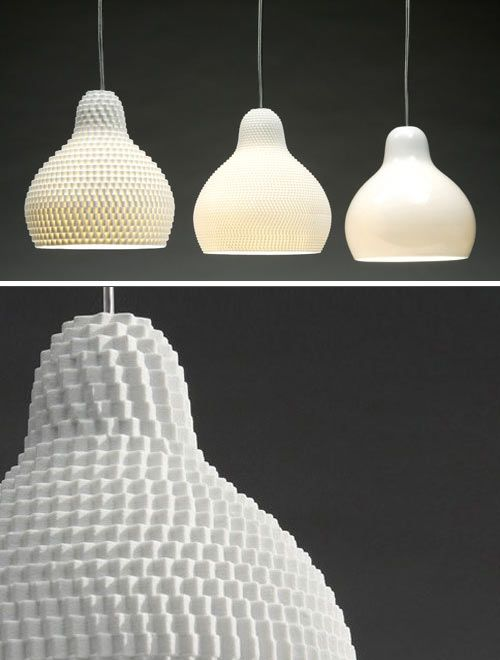 """This Dpi lighting series from Guillaume Delvigne comes in 3 versions – 72dpi, 144dpi, or 300dpi. Based on the pixel or Dpi (i.e. """"dots per inch"""") in computer speak, the texture of the lights is based on the various screen resolutions. #voxel"""