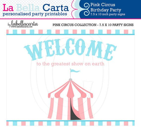 Pink Circus Printable Party Signs, Circus Birthday Party, Printable Party, DIY Party, Circus Printable, Baby Shower