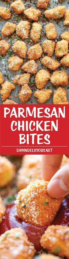 Parmesan Chicken Bites - The best chicken nuggets you will ever have - crisp-tender and completely homemade with Parmesan goodness! Will be baking these instead of frying and using whole wheat flour
