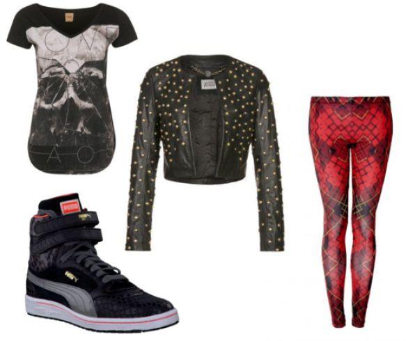 Emo girl look - zwart leer jasje met studs en gympen