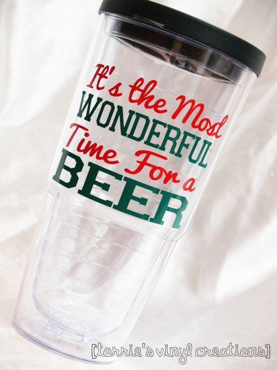 Can never think of anything to get my dad for christmas... Problem solved for only $14 !!!   Christmas Beer Tumbler by JewelVinylCreations on Etsy, $14.00
