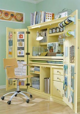 Love this huge craft/sewing armoire; perfect that you can close it up when you're done