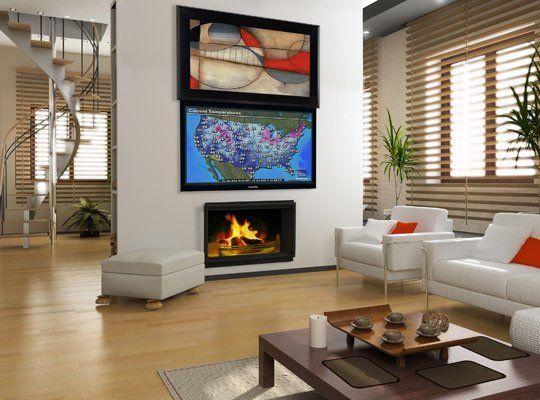 Hidden Treasures: Motorized TV Hiding Systemsideetje om tv boven de openhaard te plaatsen achter nog te verzinnen deurtjes/schilderij