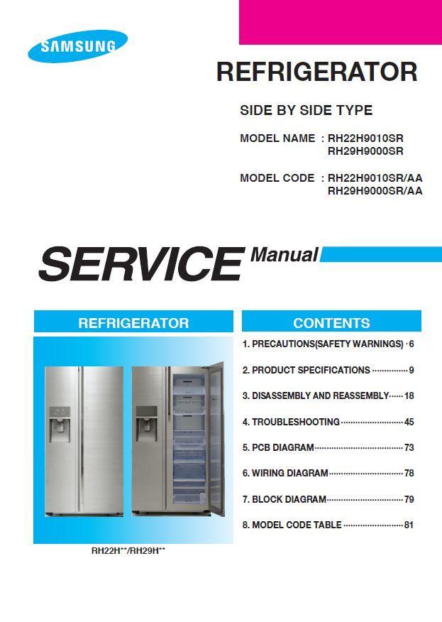 Samsung Rh22h9010sr Rh29h9000sr Refrigerator Service Manual Refrigerator Service Repair Guide Samsung