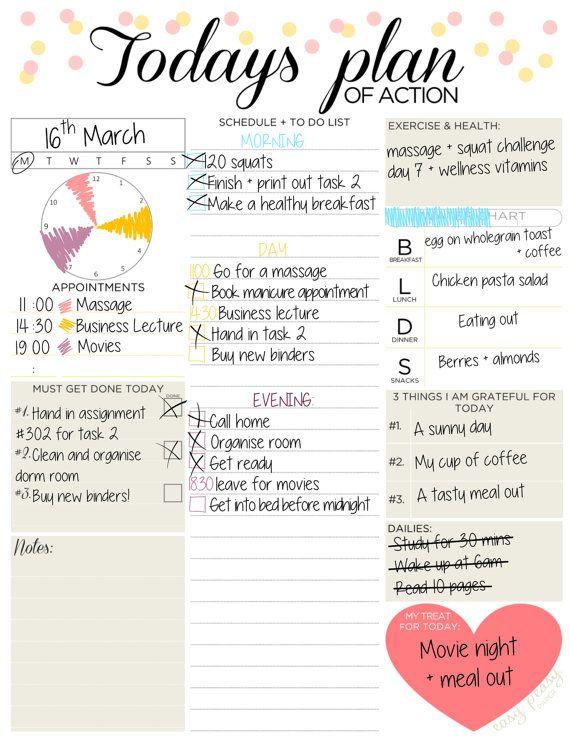 Daily Planner Printable Day Organizer A4 Daily por EasyPeasyPaper
