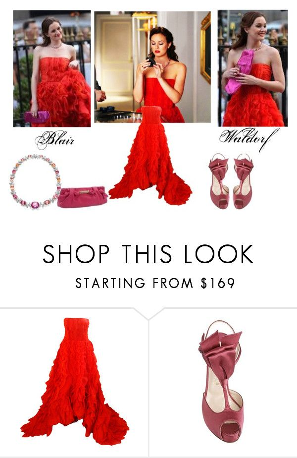 Blair Waldorf Outfit - Gossip Girl by hemmo1drauhl on Polyvore featuring moda, Oscar de la Renta, Christian Louboutin, Harry Winston and Burberry