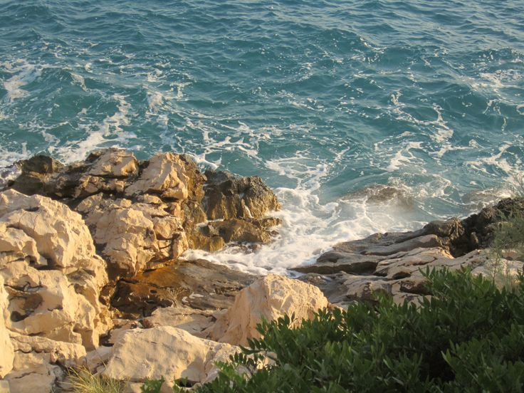 Waves hitting on the rocks of Makarska Croatia
