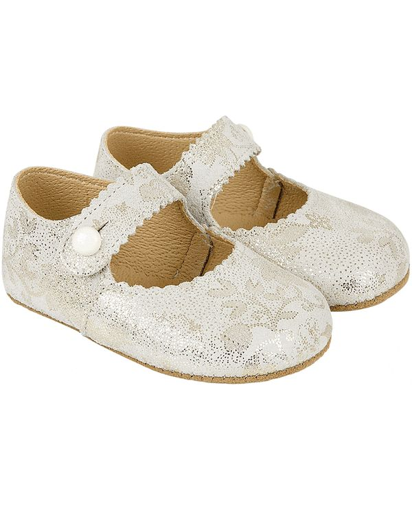 Early Days Emma Baby Girls Ivory and Gold Leather Shoes