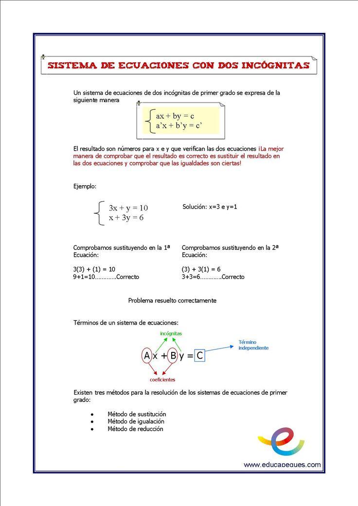 Matemáticas: Los sistema de ecuaciones de dos incognitas Iniciamos un nuevo ciclo de recursos de Secundaria, todas las semanas, un