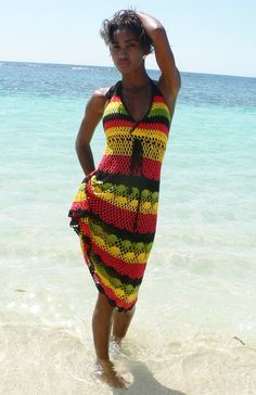 Handmade Cotton Crochet Summer Dress Jamican rasta colors. Crochet can stretch reasonably and there is a band to tie and adjust it right below the