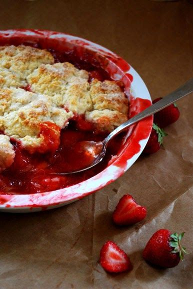 Strawberry Rhubarb Cobbler: Very easy and delicious!