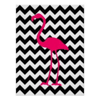 Zigzag noir et blanc de flamant rose lumineux affiche