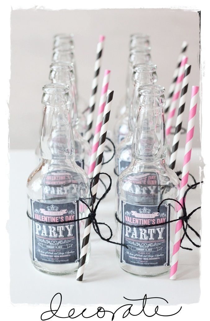 clear glass, striped paper  straws and diy labels