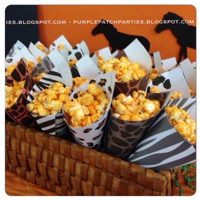 Disney's Lion King Baby Shower Party - animal print paper cones--even better if it has zebra popcorn in it!