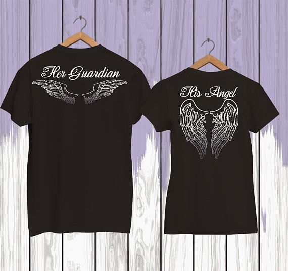 Guardian Angel Shirts Angel Wings Tshirt Couple Shirts Etsy In 2020 Couple Shirts Angel Shirt Couple Shirt Design