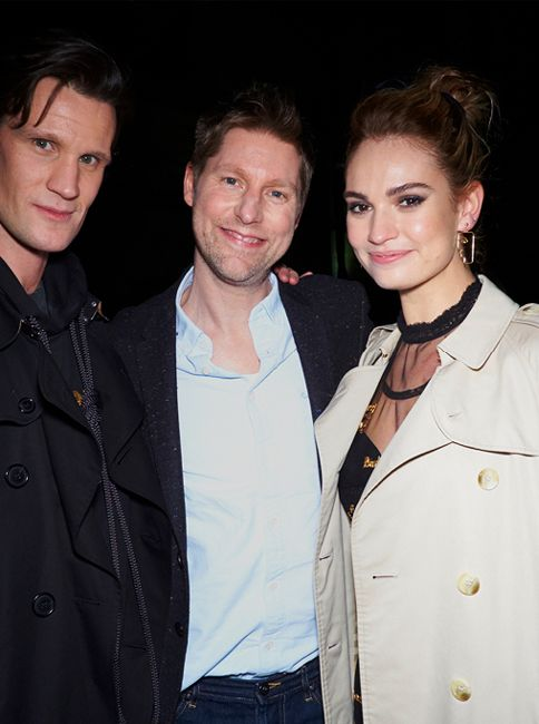 440085a70f41 Matt Smith and Lily James with Christopher Bailey at the February 2018 show   BurberryShow  LFW