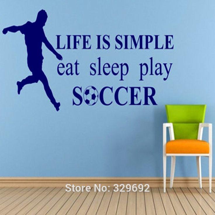 Футболист и слова стикер стены  жизнь проста ешьте сна играть в футбол  виниловые обои надписи мальчики номер стены искусства 3D домашнего декора