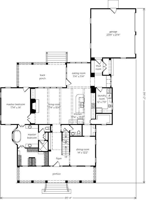 Southern living house plan love except for an office for House plans with mud rooms