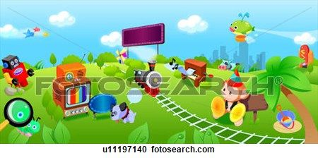Train passing through a landscape of child book characters