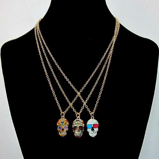 Accesorios de joyería moda pequeño punky del cráneo diseño multi del color del esmalte tatuaje mexicano pequeño collar colgante 2015
