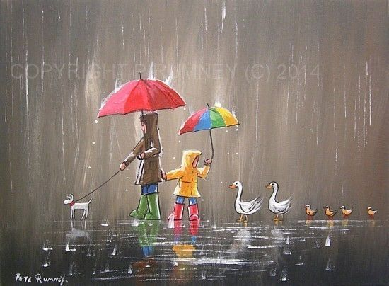 PETE RUMNEY FINE ART MODERN OIL ACRYLIC PAINTING ORIGINAL DOG DUCKS UMBRELLAS NR in Art, Artists (Self-Representing), Paintings | eBay