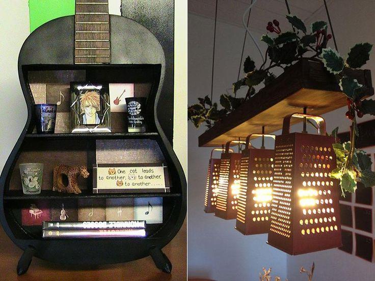 Luminária feita de raladores e estante de violão