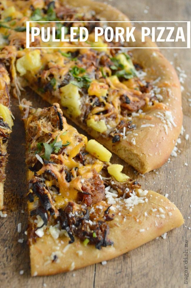 On a Copycat Mellow Mushroom Crust this Pulled Pork Pizza is covered in caramelized onions, bacon, cheese, pork, & pineapple. Homemade pizza at its best.