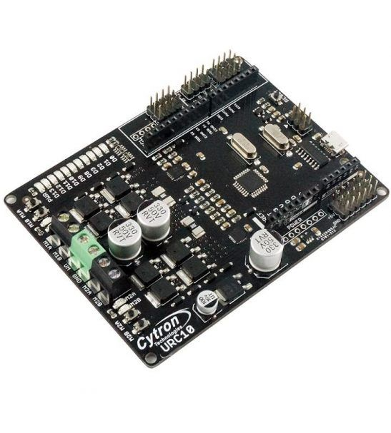 Arduino + dual channel high current motor driver specifically for mobile robot design. It can be used in Sumo robot, Combat robot, Robot Rumble.