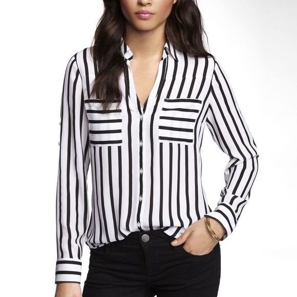EXPRESS Portofino Black and White Striped Blouse This trendy shirt is on point with it's bold design and flattering fit. Chiffon material is slightly sheer, making it ideal for layering or wearing over a tank or cami. Express Tops Button Down Shirts