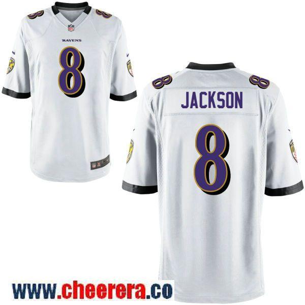 innovative design a3242 6b235 Men's Baltimore Ravens #8 Lamar Jackson White Road Stitched ...