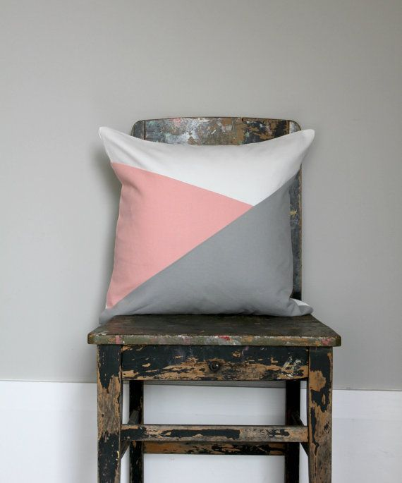 geometric blush grey u0026 white throw pillow grey by