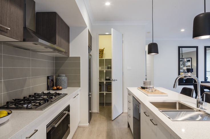 Domaine Homes. Nevada 28. Kitchen with walk in pantry. Internal Colour Scheme: Lunar Forest