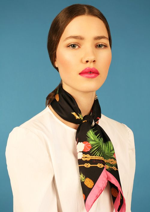 Super cute tropical print silk scarf by Cleo Ferin Mercury- I love the little pineapple and nautical ropes! Try this sailor style knot for a very sweet everyday look