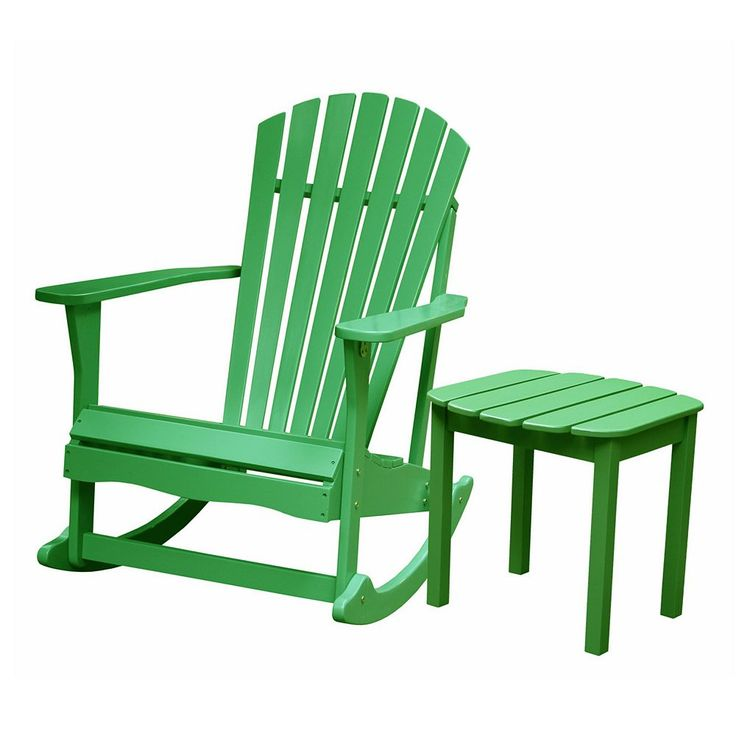 Outdoor 2-piece Adirondack Rocking Chair and Side Table Set, Green