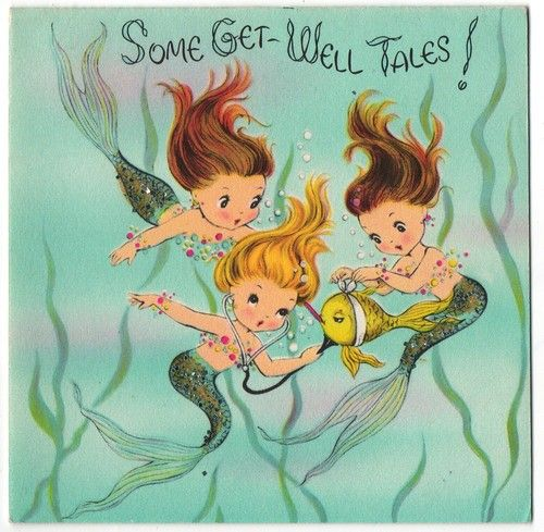 Vintage Greeting Card Mermaids *a sweetness to that illustration style missing in contemporary cards